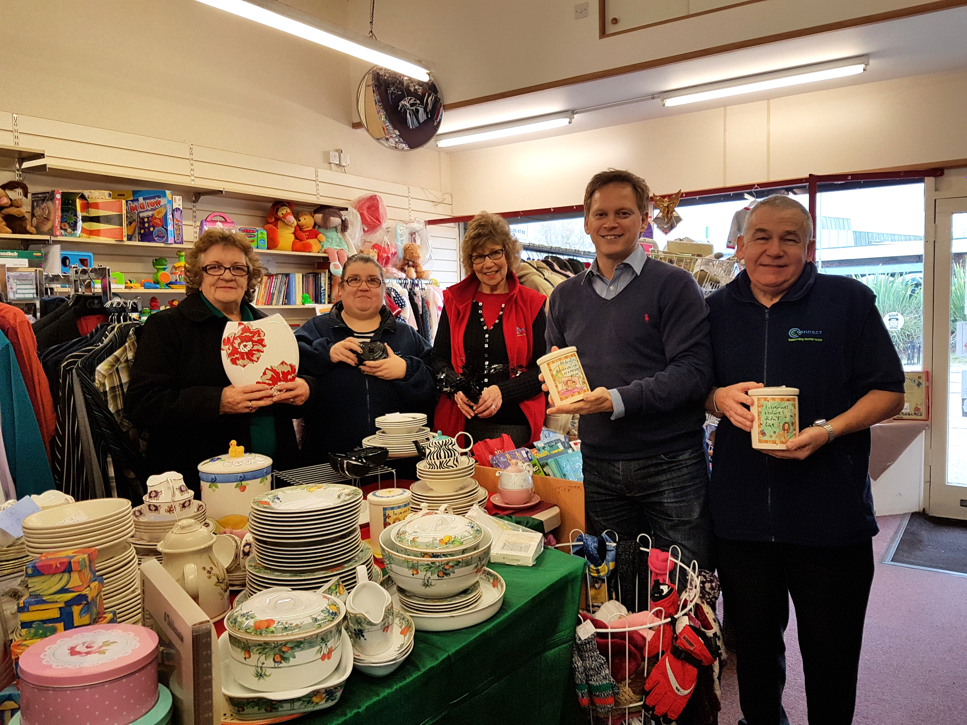 Grant visits Wot-Nots Charity Shop in Hatfield