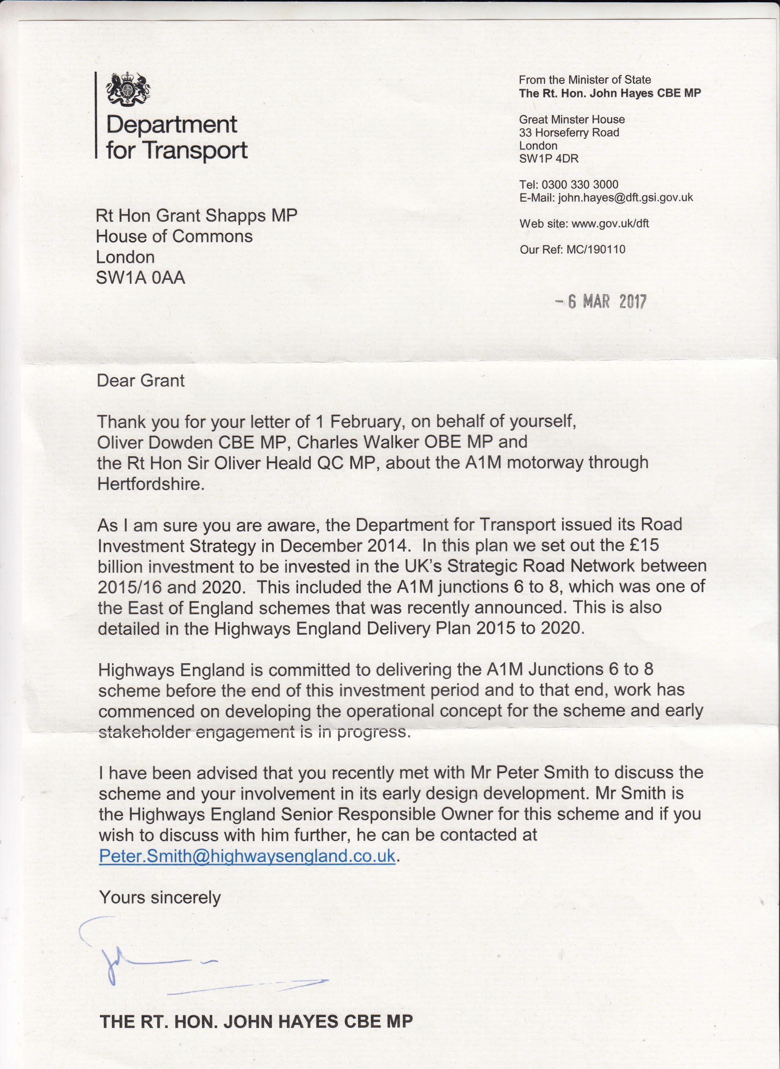 Department for Transport responds to calls from Shapps and Hertfordshire MPs to improve A1M motorway