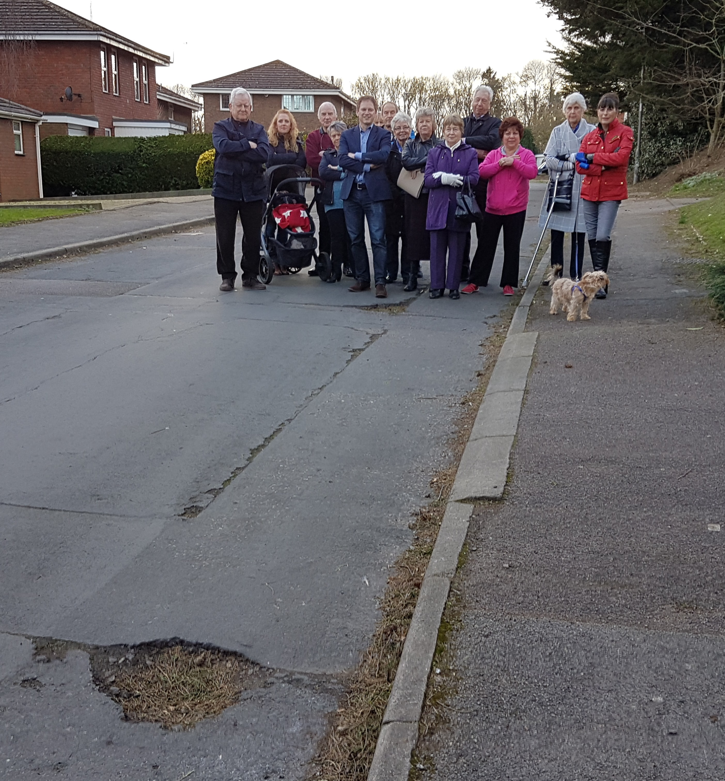 Grant views poor condition of Birch Grove with local residents