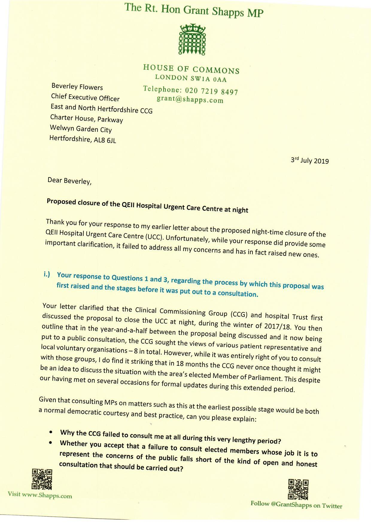 Proposed closure of the QE2 Hospital Urgent Care Centre at