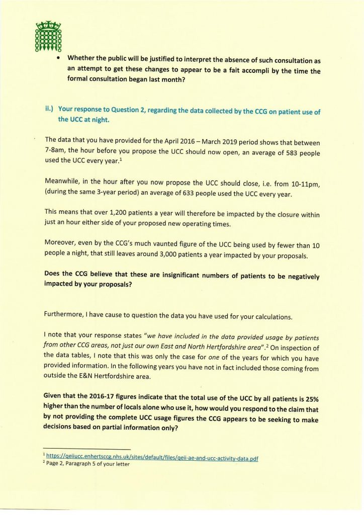 Proposed closure of the QE2 Hospital Urgent Care Centre at night